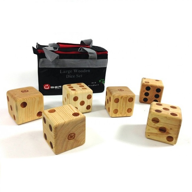 Pack of 6 Giant Wooden Dice 9cm