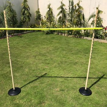 Wooden Limbo Game Set out in the Backyard